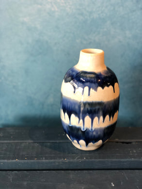 SALE - White Vase with Blue Drip Pattern, Shiny, Handmade