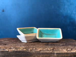 Rectangle Ramekin/Tiny Bowl: Rustic Blue, Raw Exterior, Handmade