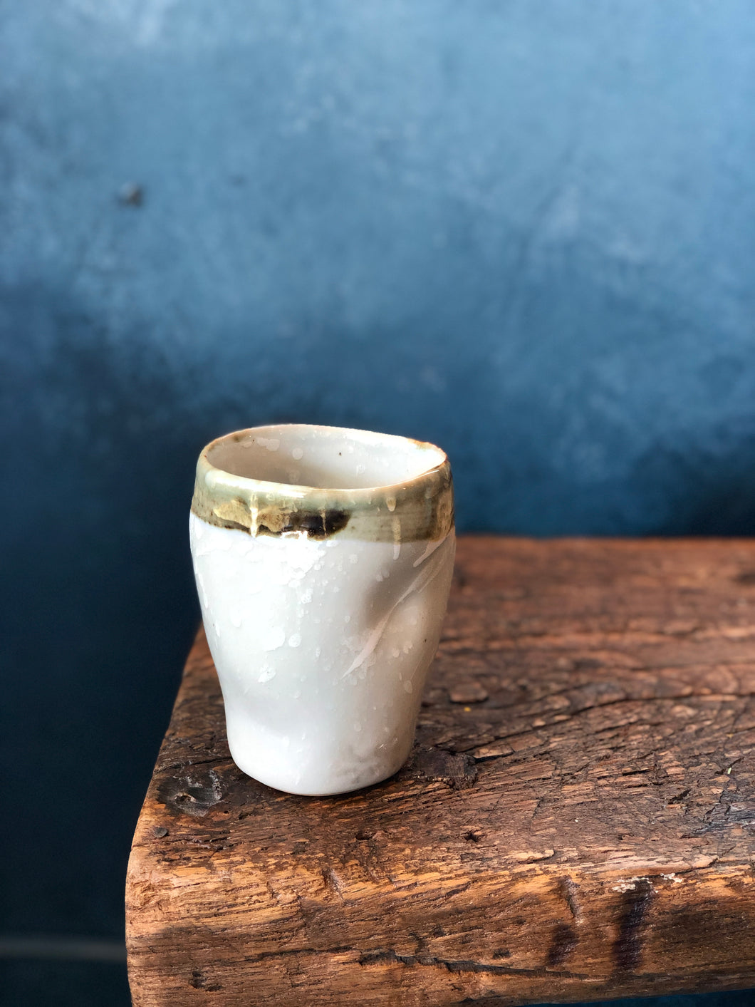 Uneven Shape Mug, Smooth/Shinny Milky Coloured, Dark Green Rim, Handmade