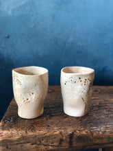 SOLD | Large-Uneven Shaped Mug: Creamy Yellow, White Speckled, Semi-Glazed, Handmade