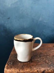 Uneven Shape Mug with Handle: Glazed, Milky Coloured, Dark Green Rim, Handmade