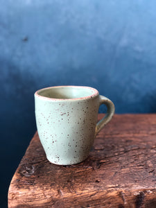 Uneven Shape Mug: Green Soda, Speckled, Raw Rim, Handmade