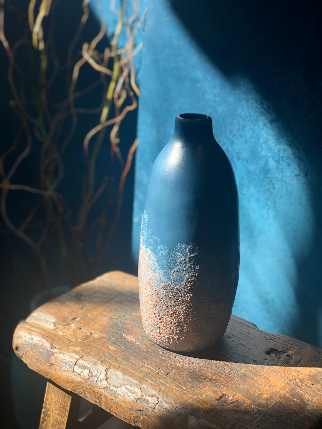 Steel Blue Vase, Textured Ombre Rose Gold Bottom, Handmade