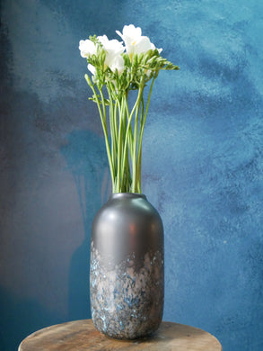 Black Vase with Blue Details