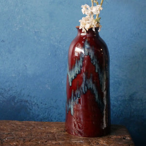 Dark Earthy Red and Blue Glazed Vase | Yellow Inside