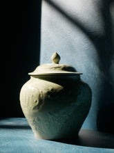 Celadon handcrafted jar with lid