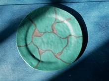 Green Handmade Pottery Plate, Ceramic, Dinnerware, Rustic Serving Plate
