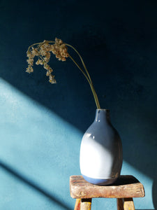 Light Blue Glazed Vase with Dark Blue Raw Detail