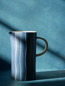 Large Blue Jug/Vase with White Stripes
