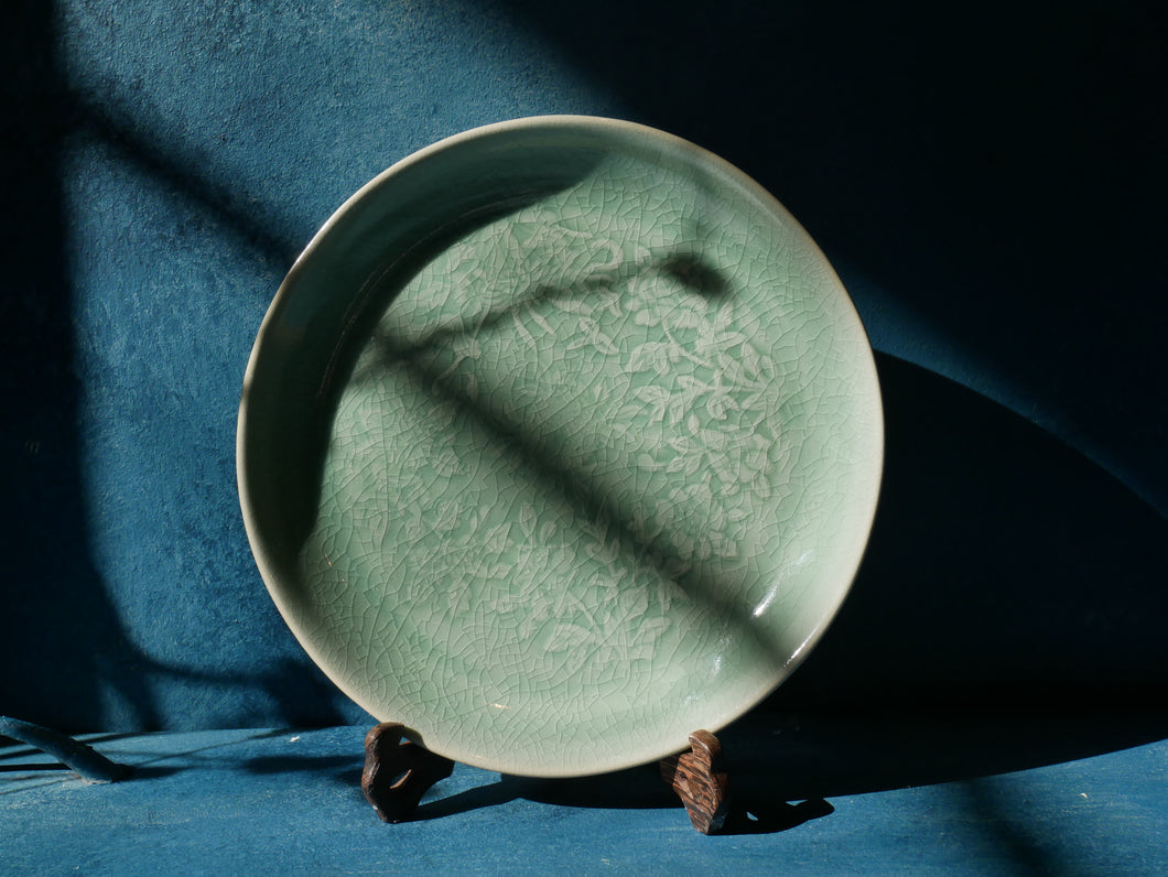 Traditional Green Celadon Plate with Floral Pattern
