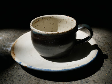 Coffee cup set - speckled white - blue coffee mug, Hand thrown