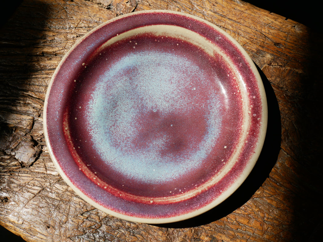 Handmade Copper-Red and white plate