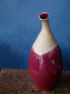 Copper Red Bottleneck Vase by Master Padung | Tall