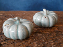 A set of Blue Celadon Salt and Pepper Pumpkins