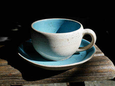 Round Coffee set - Turquoise Coffee Set, Rough texture outside, Glazed turquoise mug and saucer