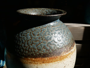 Rubber tree ash glazed round VASE (VIII) by Master Padung