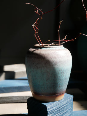 Oxidised Turquiose with lavender(matte) Glazed - mini round vase