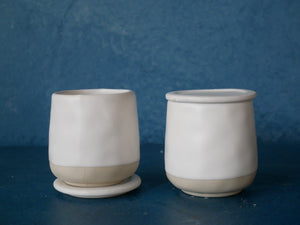 Tiny Smooth White Cup with Lid.
