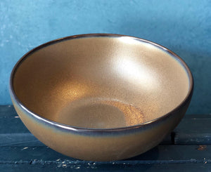 SALE - Medium Round Bowl, Natural Brown coloured with darker Rim, Raw Finishing, Handmade