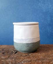 Textured Tile Green and White Jar with Lid
