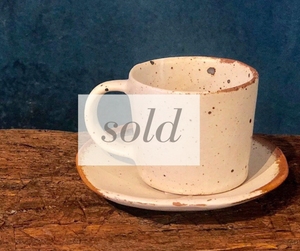 SOLD | Matte- Speckled Coffee cup with saucer
