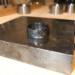 German 5 Mark 1975 Silver coin ring