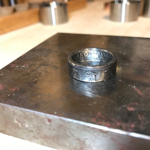 German 5 Mark Eagle Silver coin ring