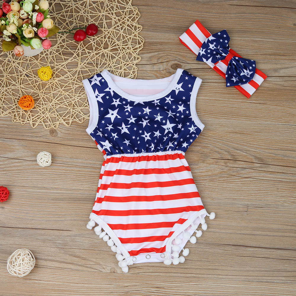 9ded2a18e88 ... Newborn Baby Rompers American Flag Pattern Baby Clothing Set Rompers +  Headbands 2pcs Summer Infant Jumpsuit