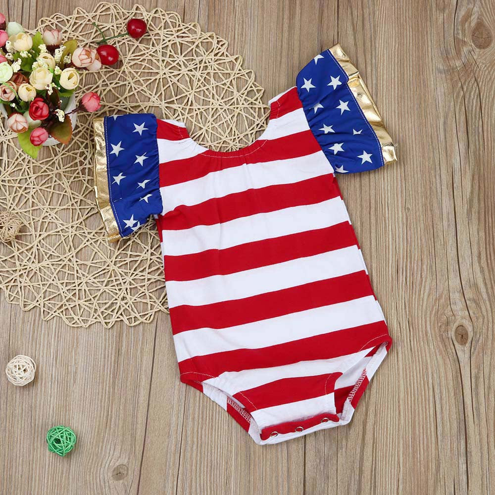 dd032949963f ... Summer Baby Girls Rompers Stripe Sleeveless Newborn Romper Splice Girl  Boy Baby Jumpsuit Print Clothes Outfit ...
