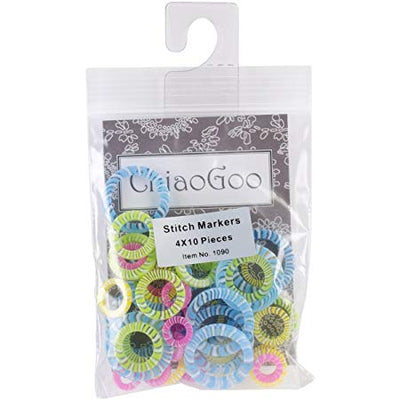 40-Pack Stitch Markers (4 Sizes) By ChiaoGoo Tools