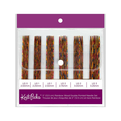 KNIT PICKS Rainbow Wood Double Point Knitting Needle Set 12cm (5