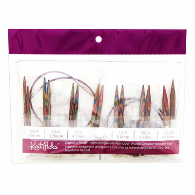 KNIT PICKS Rainbow Wood Options Short Interchangeable Circular Needle Set