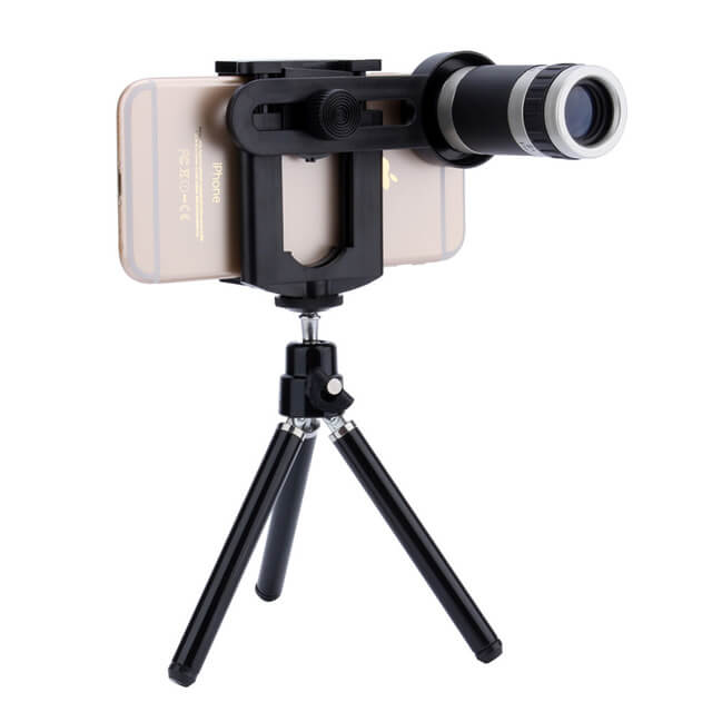 UNIVERSAL 8X ZOOM TELESCOPE CAMERA LENS WITH TRIPOD
