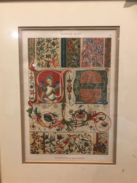 50. Middle Ages illuminated manuscript print gilt wood frame + glass