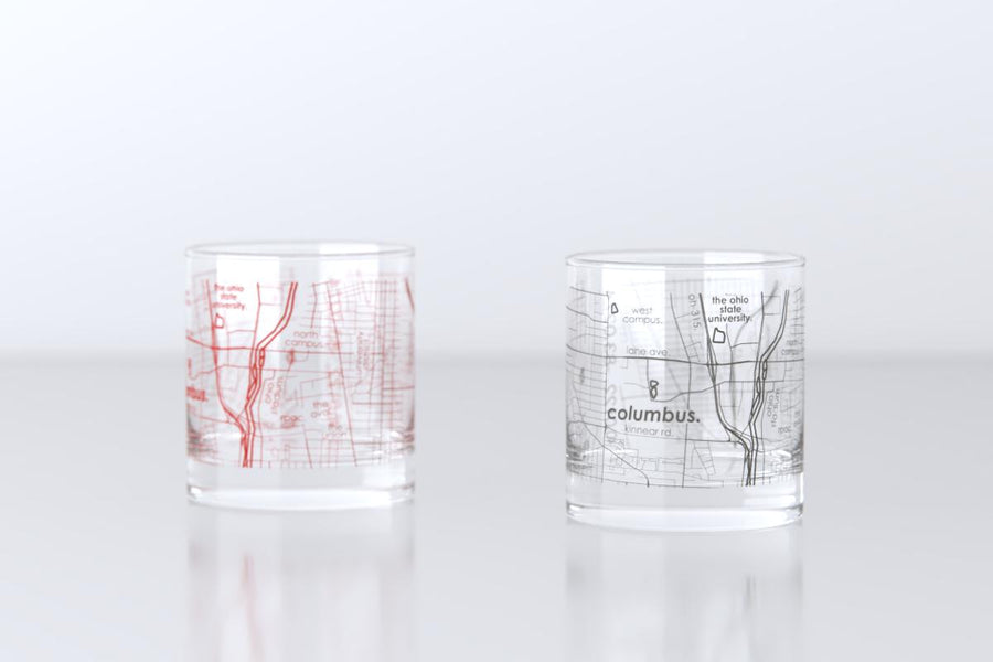 Columbus, OH - Ohio State - College Town Map Rocks Glass Pair