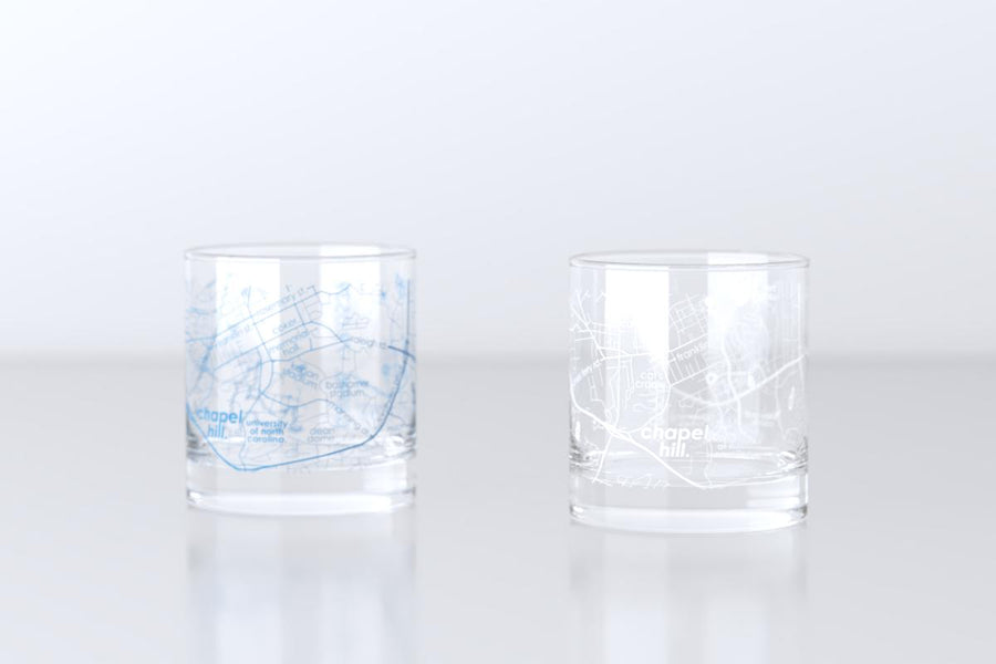 Chapel Hill, NC - UNC - College Town Map Rocks Glass Pair