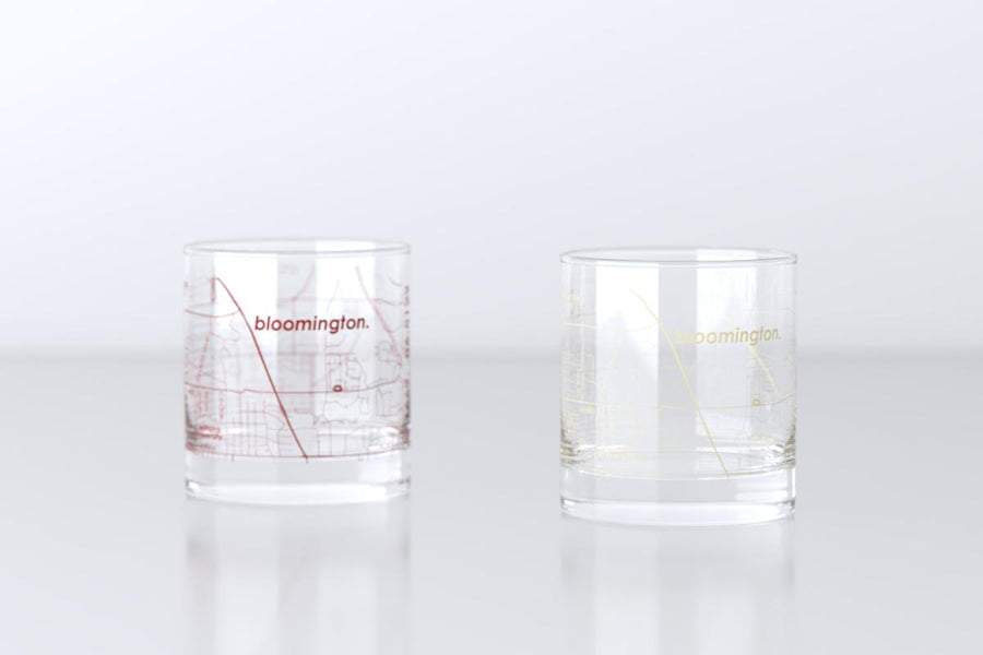 Bloomington, IN - Indiana University - College Town Map Rocks Glass Pair