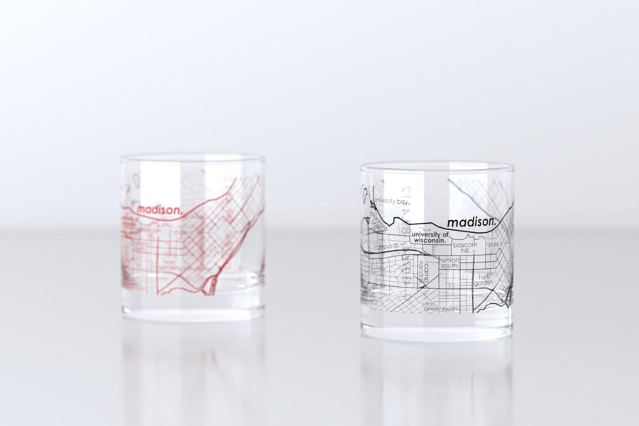 Madison, WI - University of Wisconsin - College Town Map Rocks Glass Pair