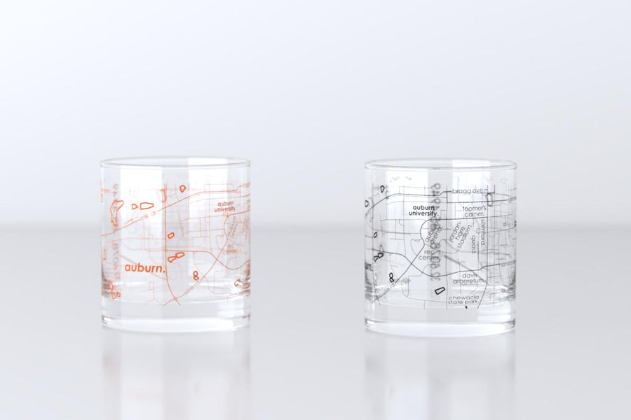 Auburn, AL - Auburn University - College Town Map Rocks Glass Pair