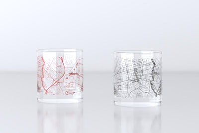 Athens, GA - University of Georgia - College Town Map Rocks Glass Pair