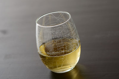 Baltimore Map Stemless Wine Glass