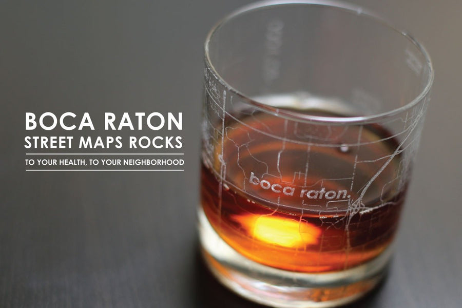 Boca Raton Map Rocks Glass