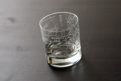 Boston 26.2 - Marathon Map Rocks Glass