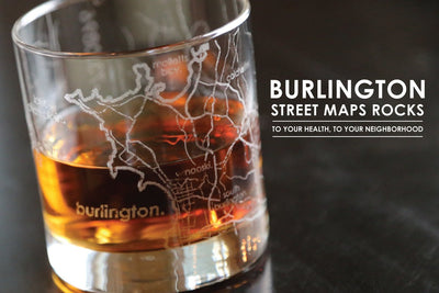 Burlington Map Rocks Glass