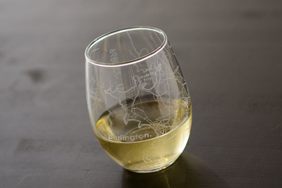 Burlington Map Stemless Wine Glass