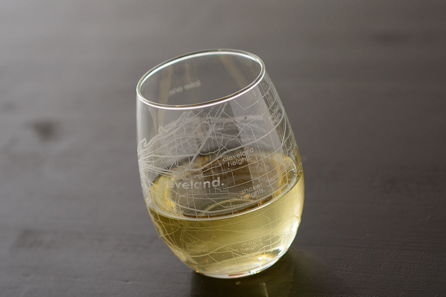 Cleveland Map Stemless Wine Glass