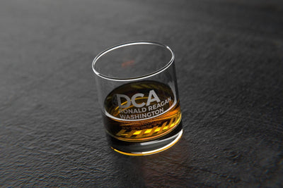 DCA Reagan National DC - Airports and Runways Rocks Glass