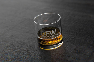 DFW Dallas/Fort Worth - Airports and Runways Rocks Glass