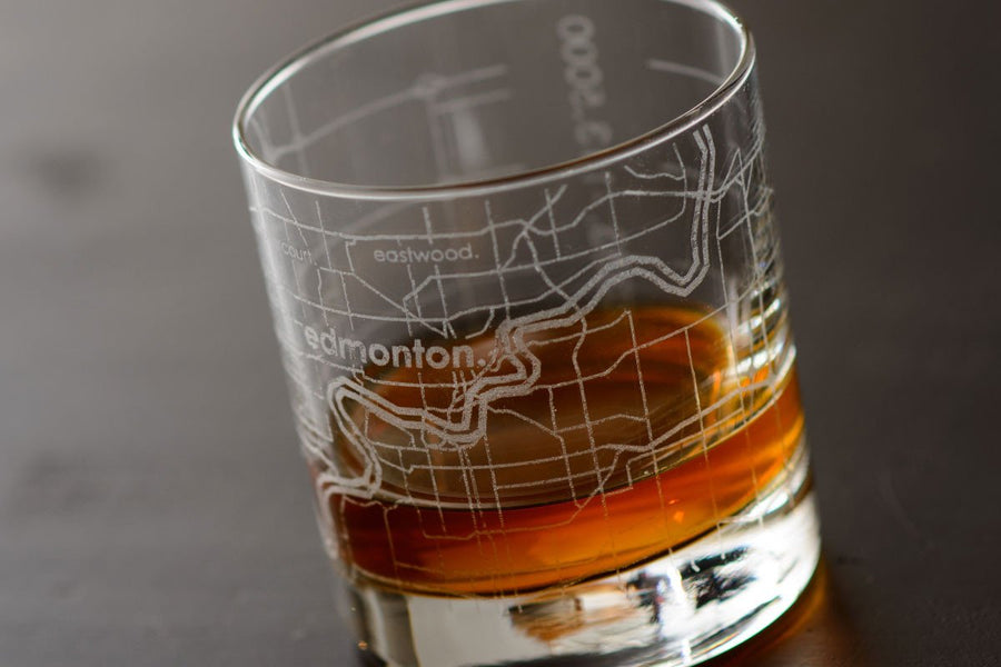 Edmonton Map Rocks Glass
