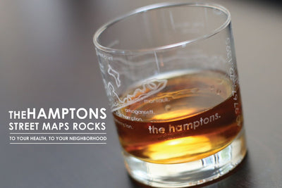 Hamptons Map Rocks Glass